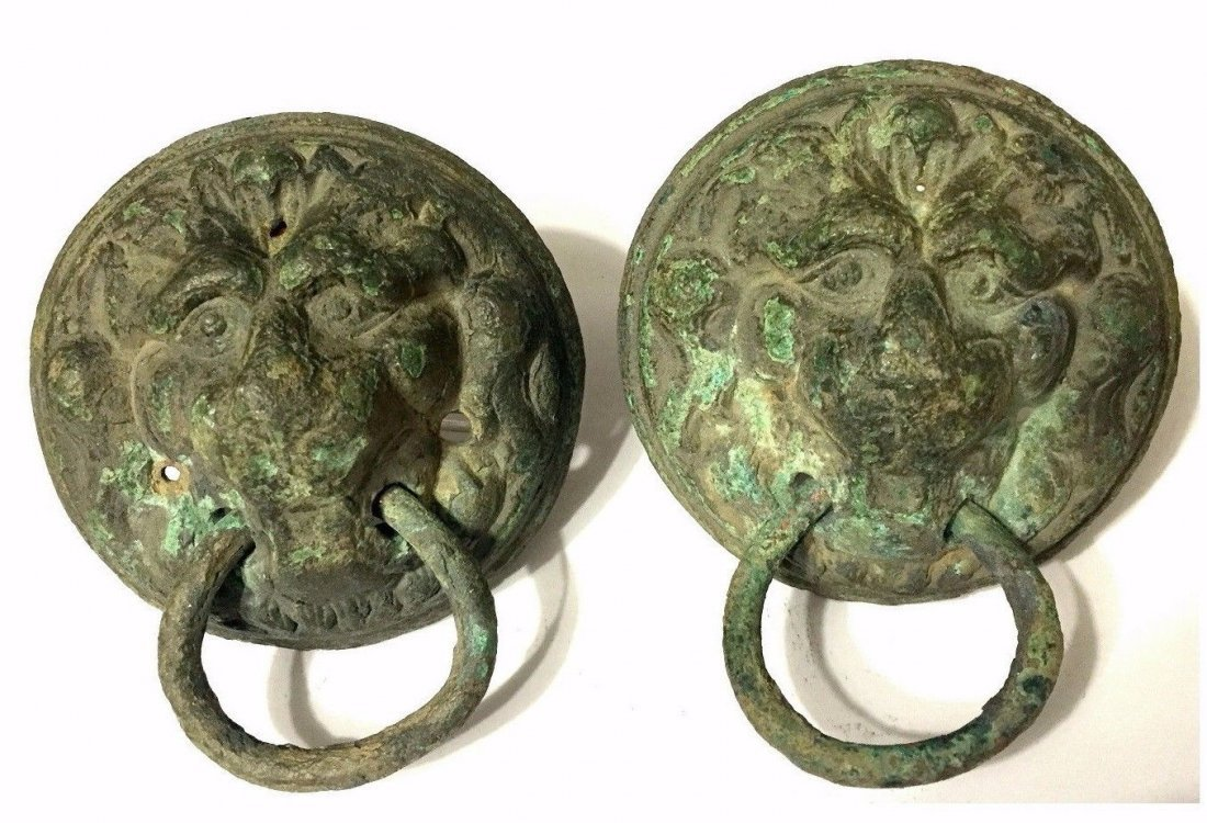 Pair of Ancient Roman Bronze Lion Mask Handles.