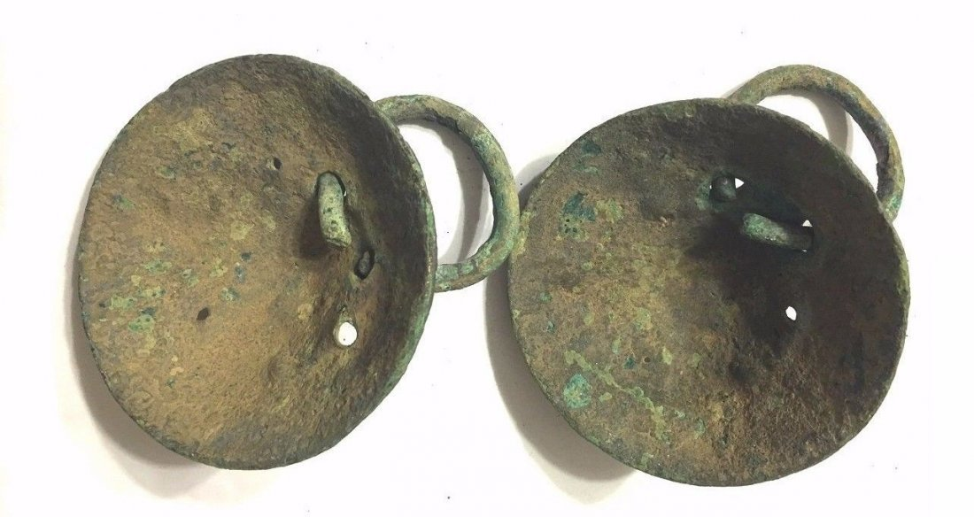 Pair of Ancient Roman Bronze Lion Mask Handles. - 4