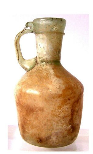 Ancient Roman Glass Handled Jug