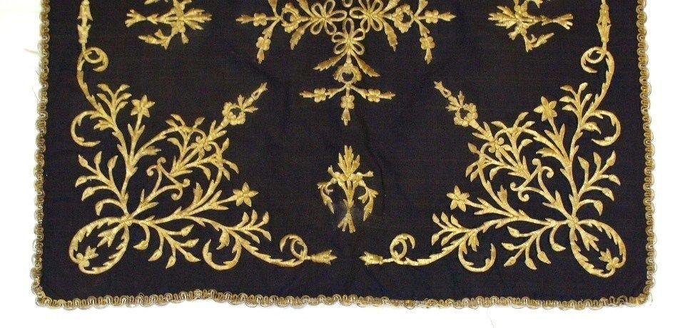 Antiques ottoman Turkish textile Gold embroidery . - 2