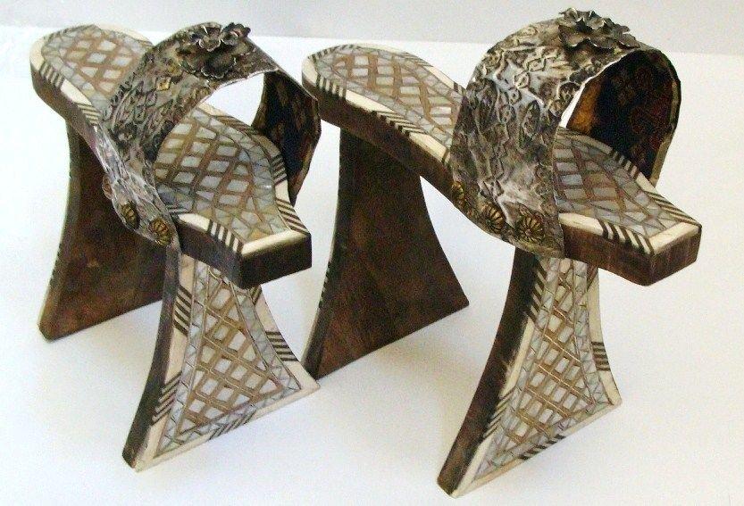 Antique Turkish or Syrian Wooden bath shoe Nalin .