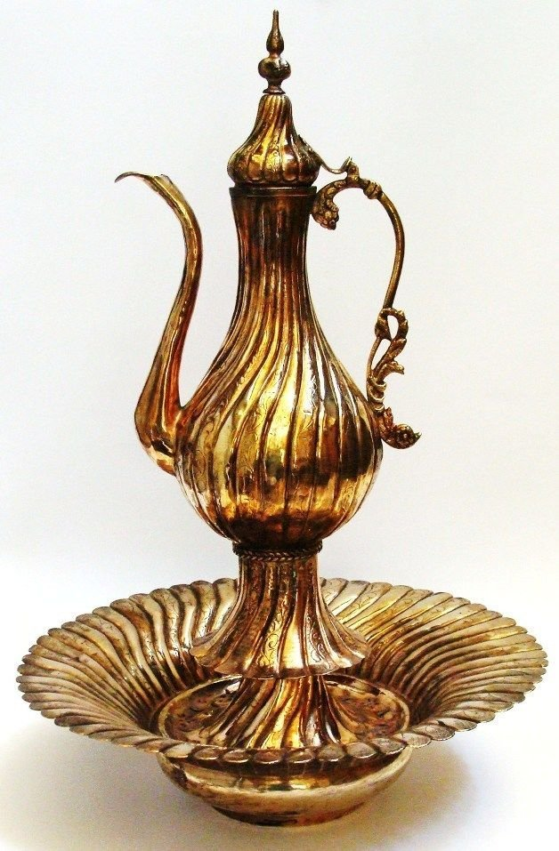 Ottoman Islamic tinned copper Pitcher Gold Plated .