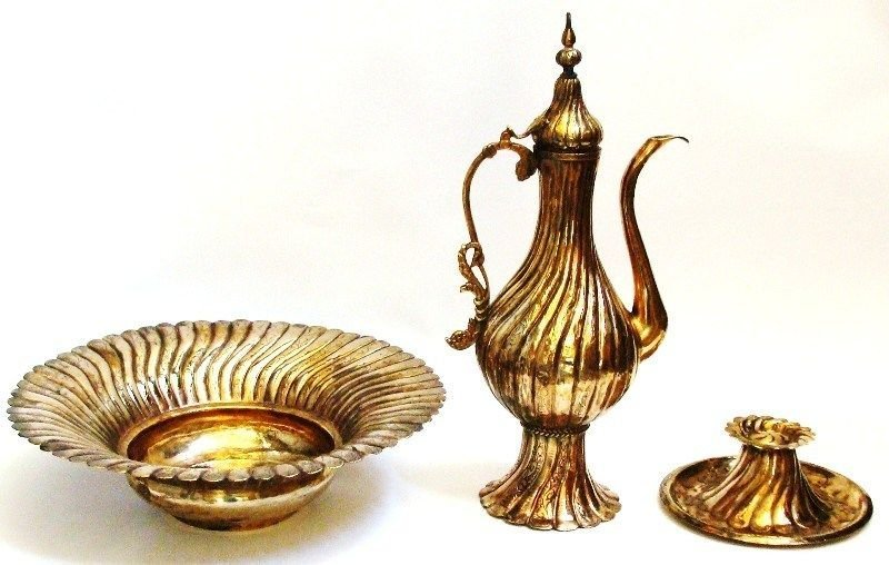 Ottoman Islamic tinned copper Pitcher Gold Plated . - 2