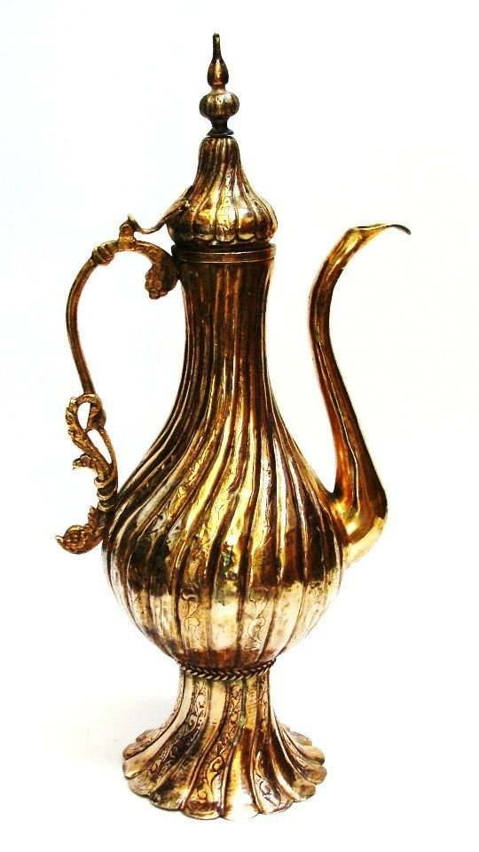 Ottoman Islamic tinned copper Pitcher Gold Plated . - 3