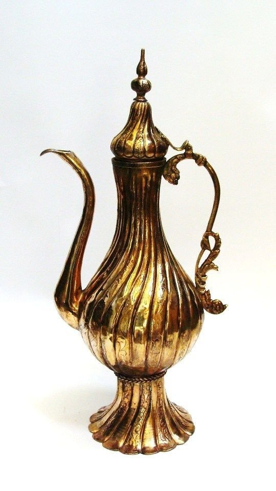 Ottoman Islamic tinned copper Pitcher Gold Plated . - 4