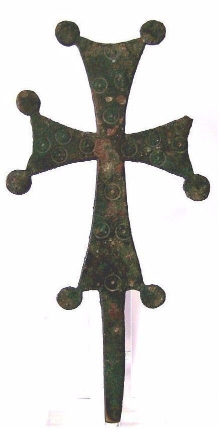 Large Ancient Byzantine Empire Bronze cross. 8in