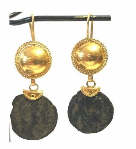 JewelryGold Earring with Ancient Bronze Roman coin