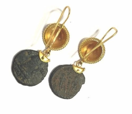 JewelryGold Earring with Ancient Bronze Roman coin - 2