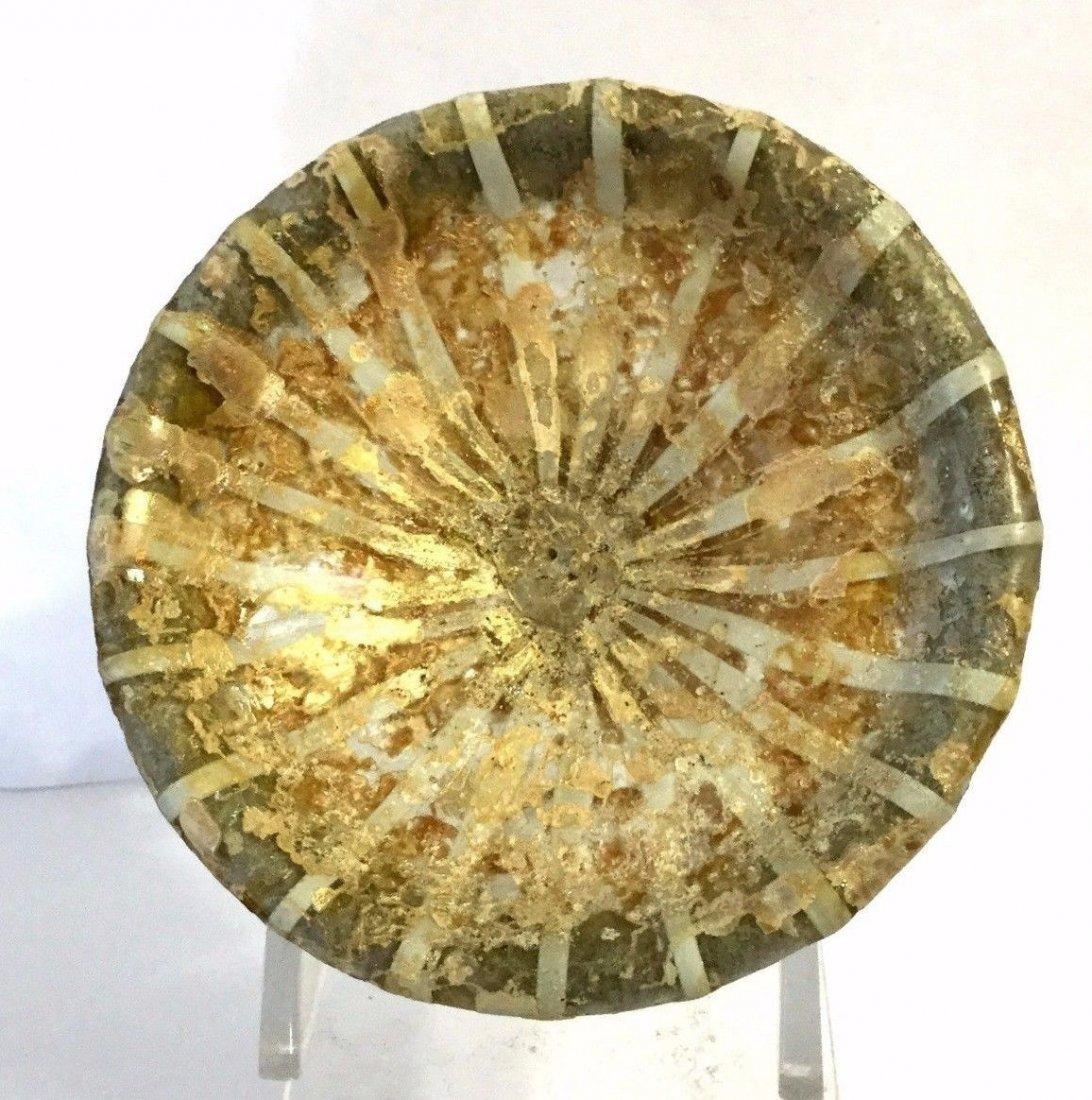 An ancient Roman glass circular dish