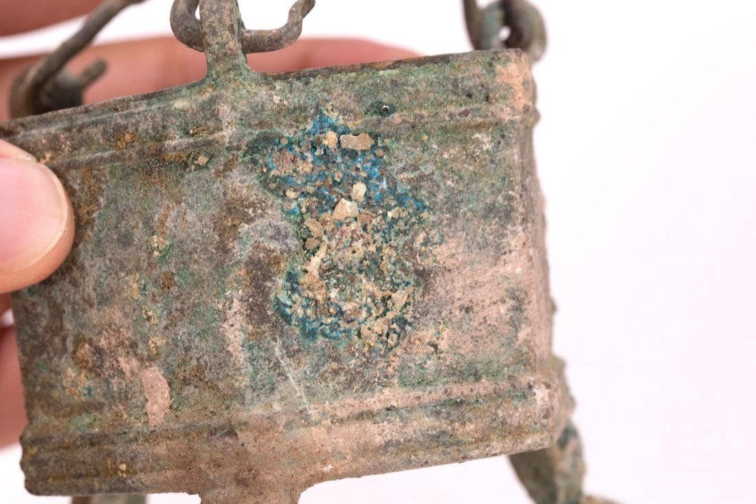 Ancient Byzantine Bronze Hanging Incense Burner w Cross - 4