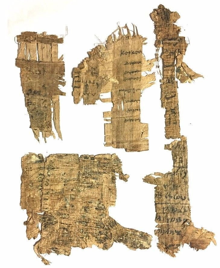 Group of Egyptian document fragments with Coptic script