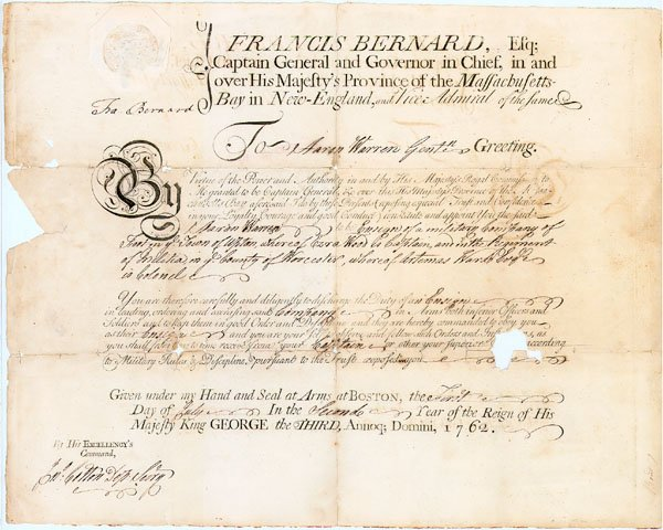 1: COLONIAL GOVERNOR FRANCIS BERNARD  MILITIARY APPOINT