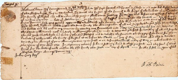 4: 1717 Document NATHANIEL PAINE - EARLY!