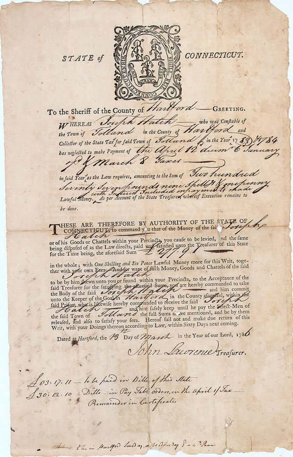 8: STATE OF CONNECTICUT TAX BROADSIDE SIGNED BY TREASUR