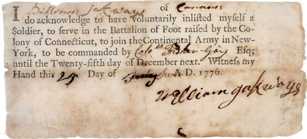 1: 1776 Soldier's PRINTED Enlistment Certificate