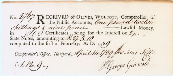 4: Order for interest signed by a Connecticut patriot