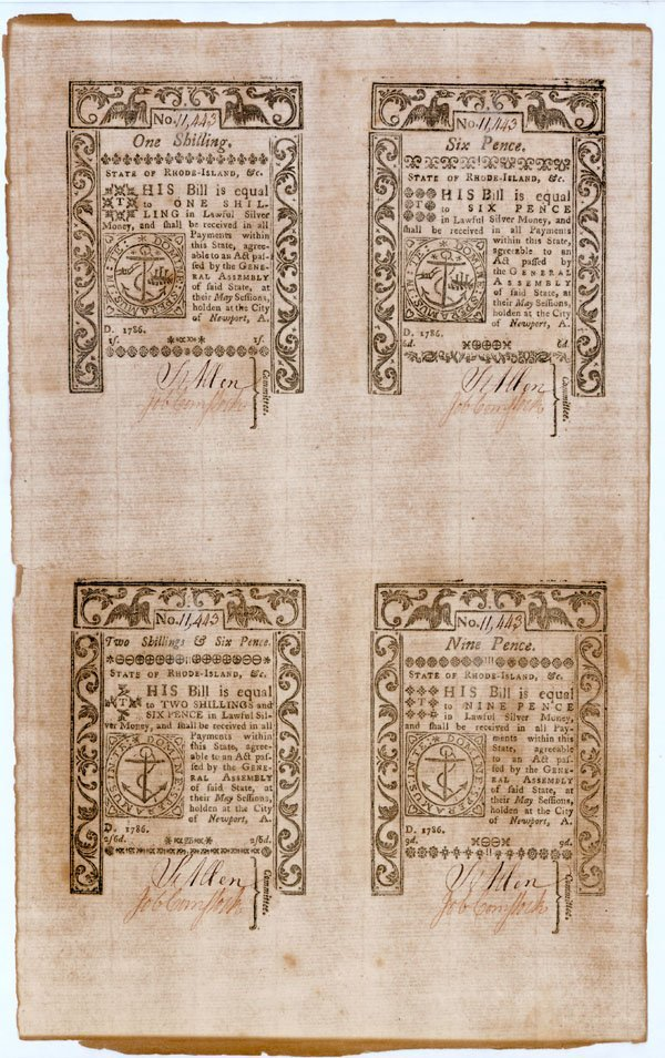 8: Uncut page of four 1786 Rhode Island Bills