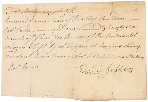 9:CONTINENTAL ARMY RECEIPT: SUPPLIES AT FT. MONTGOMERY