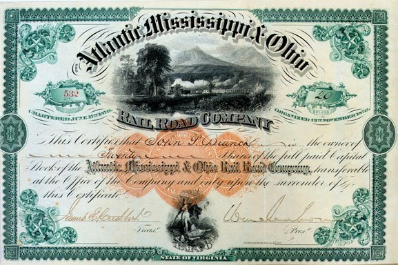 615:ATLANTIC, MISSISSIPPI & OHIO RR SIGNED BY W. MAHONE