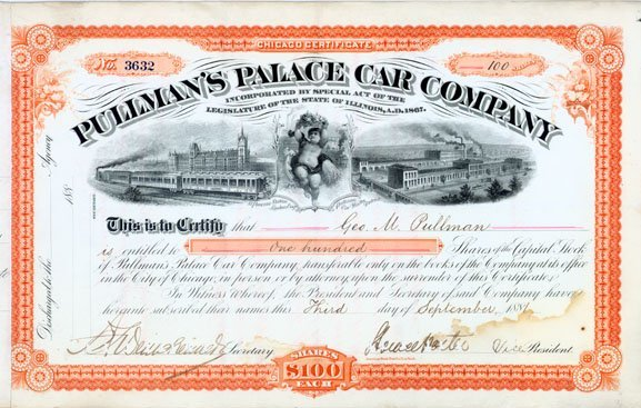 622:PULLMAN'S PALACE CAR CO. STOCK ISSUED TO G. PULLMAN