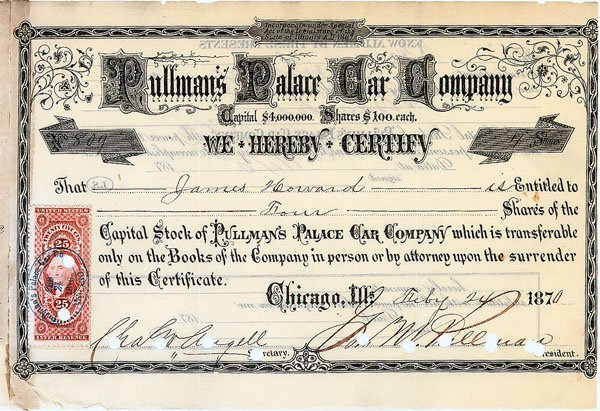 623: Pullman's Palace Car Co Signed by George Pullman