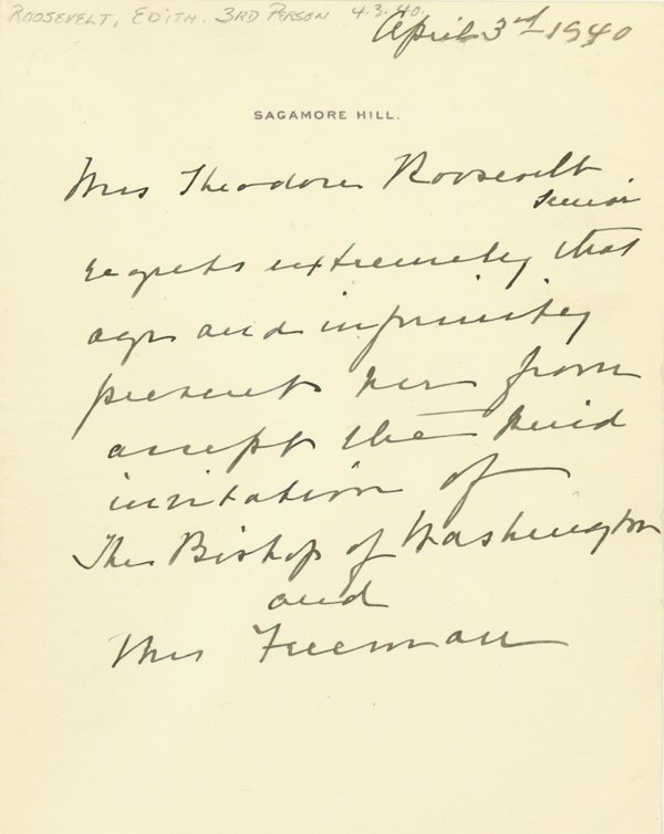 1003: LETTER FORM THE PEN OF MRS. THEODORE ROOSEVELT