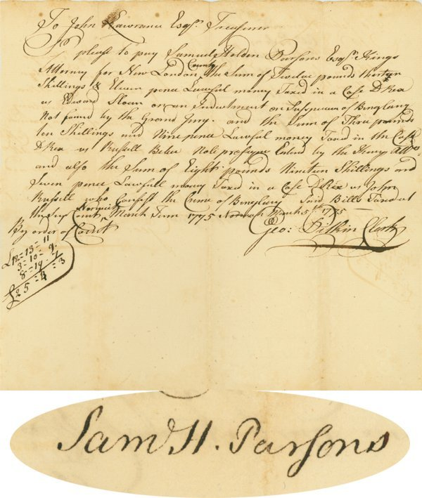 11: DOCUMENT SIGNED BY SAMUEL H. PARSONS
