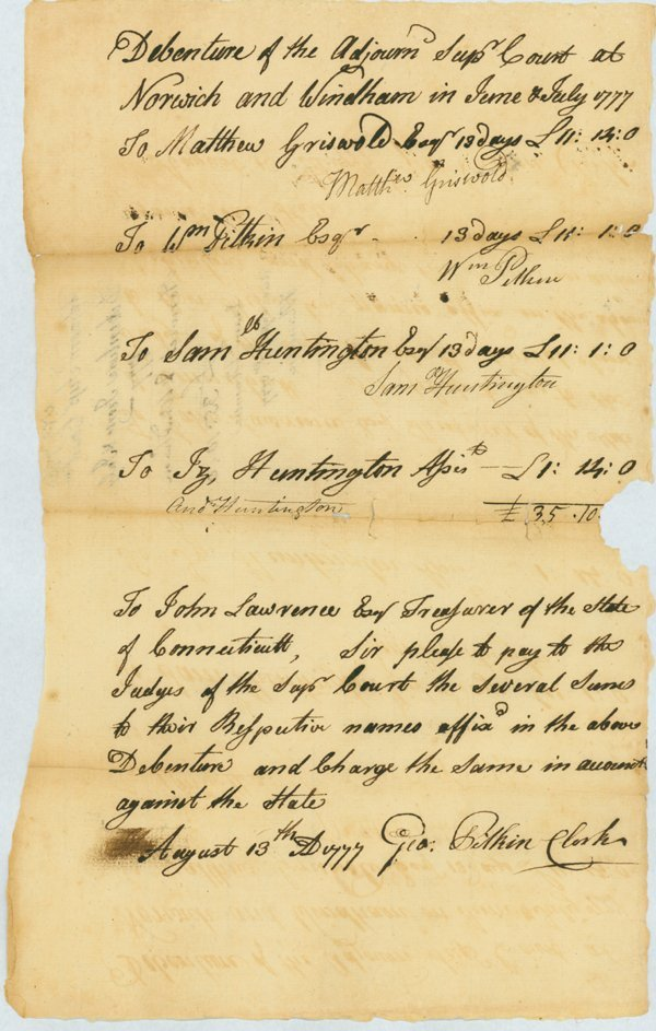 24: WAR DATE DOCUMENT SIGNED BY SAMUEL HUNTINGTON