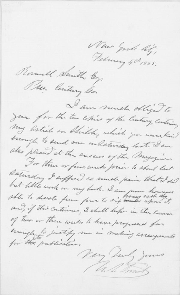 75: AN ILL ULYSSES GRANT WORKS ON HIS MEMOIRS