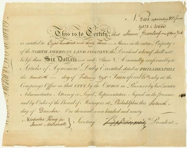 384: NORTH AMERICAN LAND CO. SIGNED BY ROBERT MORRIS