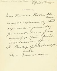 2003: LETTER FORM THE PEN OF MRS. THEODORE ROOSEVELT