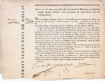 699: 1790 FRENCH BRIDGE CO. BOND  OWNED BY NAPOLEON