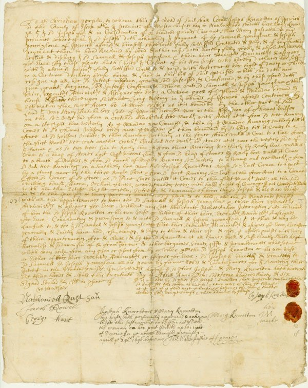 1: 17TH CENTURY DEED FROM THE MA BAY COLONY