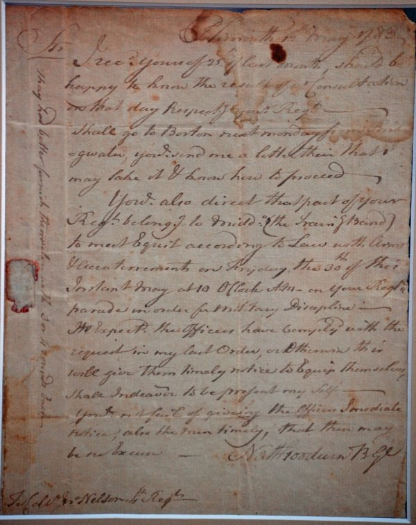 11: REV WAR LETTER SIGNED BY NATHANIEL GOODWIN