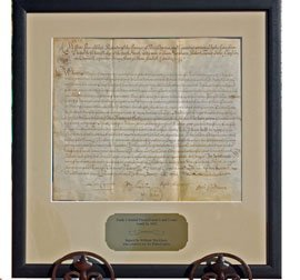 1: 1692 LAND GRANT SIGNED BY WILLIAM MARKHAM