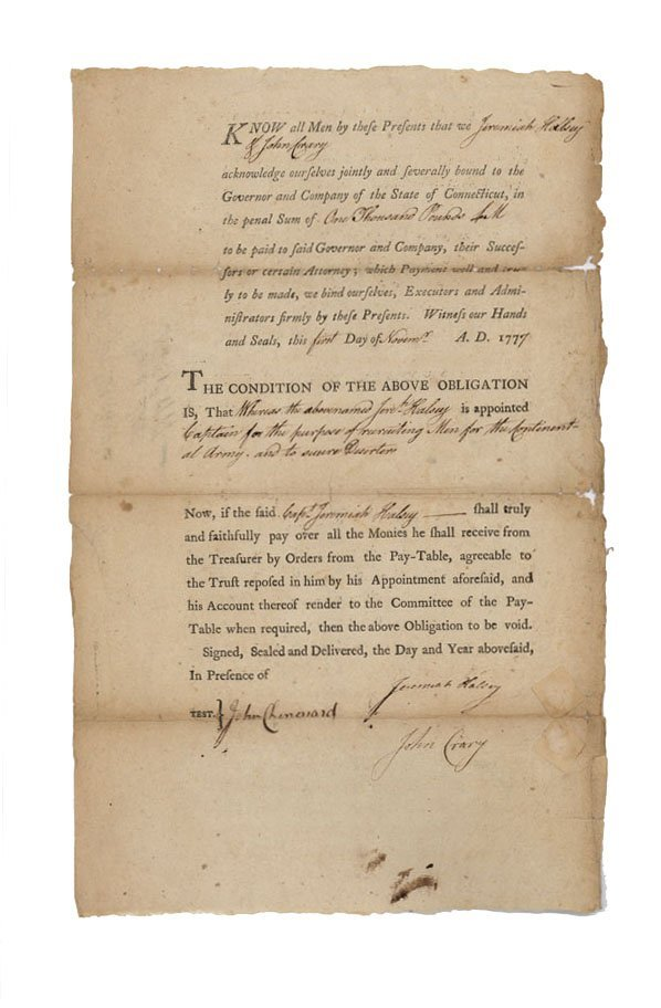 18: BOND ISSUED TO RAISE A CONTINENTAL REGIMENT