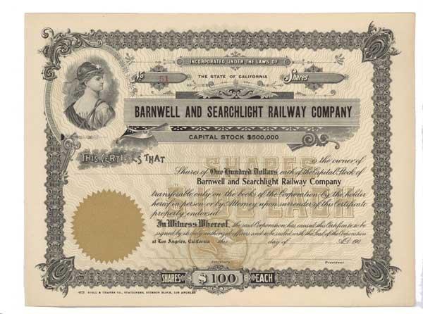 2012: BARNWELL AND SEARCHLIGHT RAILWAY COMPANY