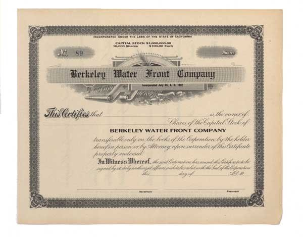 2013: BERKELEY WATER FRONT COMPANY
