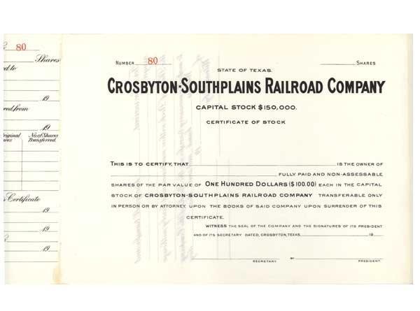 2017: CROSBYTON-SOUTHPLAINS RAILROAD COMPANY