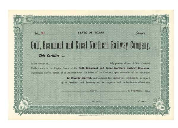 2019: GULF, BEAUMONT AND GREAT NORTHERN RAILWAY CO