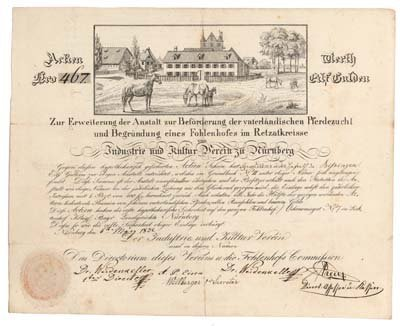 11: EXCEPTIONAL  GERMAN HORSE FARM CERTIFICATE