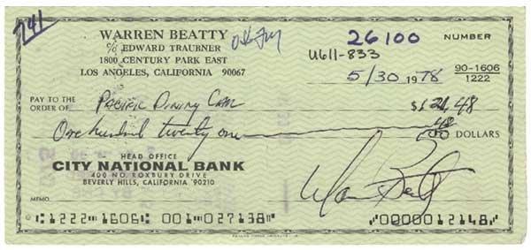 2000: WARREN BEATTY PARTLY-PRINTED BANK CHECK