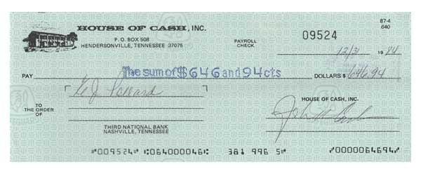 2002: JOHN CASH PARTLY-PRINTED BANK CHECK