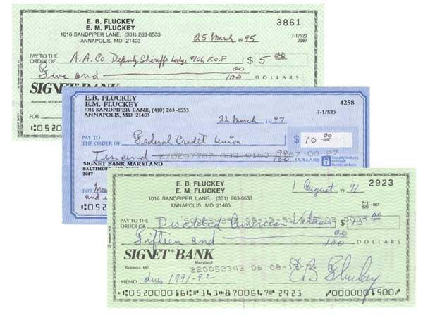 2005: E. B. FLUCKEY PARTLY-PRINTED BANK CHECK