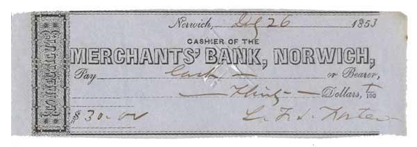 2006: LAFAYETTE SABINE FOSTER PARTLY-PRINTED BANK CHECK