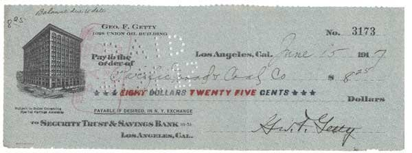 2009: GEORGE GETTY PARTLY-PRINTED BANK CHECK