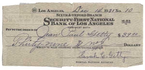 2010: SARAH C. GETTY PARTLY-PRINTED BANK CHECK