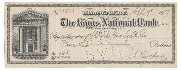 2014: J HUSTON PARTLY PRINTED BANK CHECK