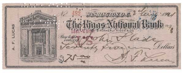 2017: ANTHONY F. LUCAS PARTLY-PRINTED BANK CHECK