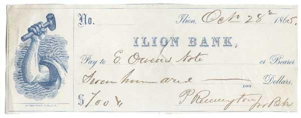 2022: PHILO REMINGTON PARTLY-PRINTED BANK CHECK.